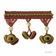 GPJ Baker - Button Drop Braid - Antique-Spice  | Fringe, Curtain & Upholstery Trim - Green, Red, Traditional, Trimmings, Fringe, Fibre Blend