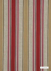 GPJ Baker - Arley Stripe - Red-Camel  | Curtain & Upholstery fabric - Red, Eclectic, Natural Fibre, Stripe, Traditional, Weave, Natural, Standard Width