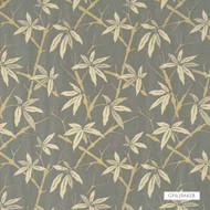 GPJ Baker - Bamboo - Slate Blue  | Curtain & Upholstery fabric - Gold,  Yellow, Asian, Farmhouse, Fibre Blends, Floral, Garden, Midcentury, Standard Width