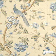 GPJ Baker - Elinor'S Chinese - Blue  | Curtain & Upholstery fabric - Blue, Gold, Yellow, Floral, Garden, Botantical, Animals, Fauna, Birds, Natural