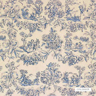 GPJ Baker - Children At Pla - Blue  | Curtain & Upholstery fabric - Blue, Natural Fibre, Toile, Traditional, Natural, Standard Width