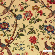 GPJ Baker - Elinors Chinese - Cream-Brick  | Upholstery Fabric - Gold,  Yellow, Floral, Garden, Multi-Coloured, Natural Fibre, Traditional, Animals, Animals - Fauna, Birds