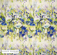James Dunlop Indent - Camille - Indigo  | Curtain & Upholstery fabric - Blue, Contemporary, Floral, Garden, Multi-Coloured, Natural Fibre, Washable, Domestic Use, Dry Clean