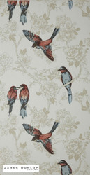 James Dunlop Indent - Songbird Wallpaper - Vintage  | Wallpaper, Wallcovering - Blue, Red, White, Craftsman, Deco, Decorative, Fibre Blends, Animals, Animals - Fauna, White