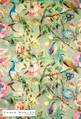 James Dunlop Indent - Blenheim - Celadon  | Curtain & Upholstery fabric - Deco, Decorative, Floral, Garden, Multi-Coloured, Natural Fibre, Pink, Purple, Traditional, Birds