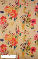 James Dunlop Indent - Painted Garden - Jewel  | Curtain & Upholstery fabric - Gold,  Yellow, Red, Contemporary, Floral, Garden, Multi-Coloured, Natural Fibre, Pink, Purple
