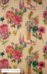 James Dunlop Indent - Painted Garden - Petunia  | Curtain & Upholstery fabric - Beige, Contemporary, Floral, Garden, Multi-Coloured, Natural Fibre, Pink, Purple, Dry Clean