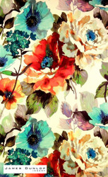 James Dunlop Indent - Gardenia - Poppy    Curtain & Upholstery fabric - Red, White, Contemporary, Eclectic, Floral, Garden, Multi-Coloured, Natural Fibre, Domestic Use