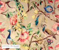 James Dunlop Indent - Hampton Court - Jewel  | Curtain & Upholstery fabric - Blue, Deco, Decorative, Floral, Garden, Multi-Coloured, Natural Fibre, Pink, Purple, Animals