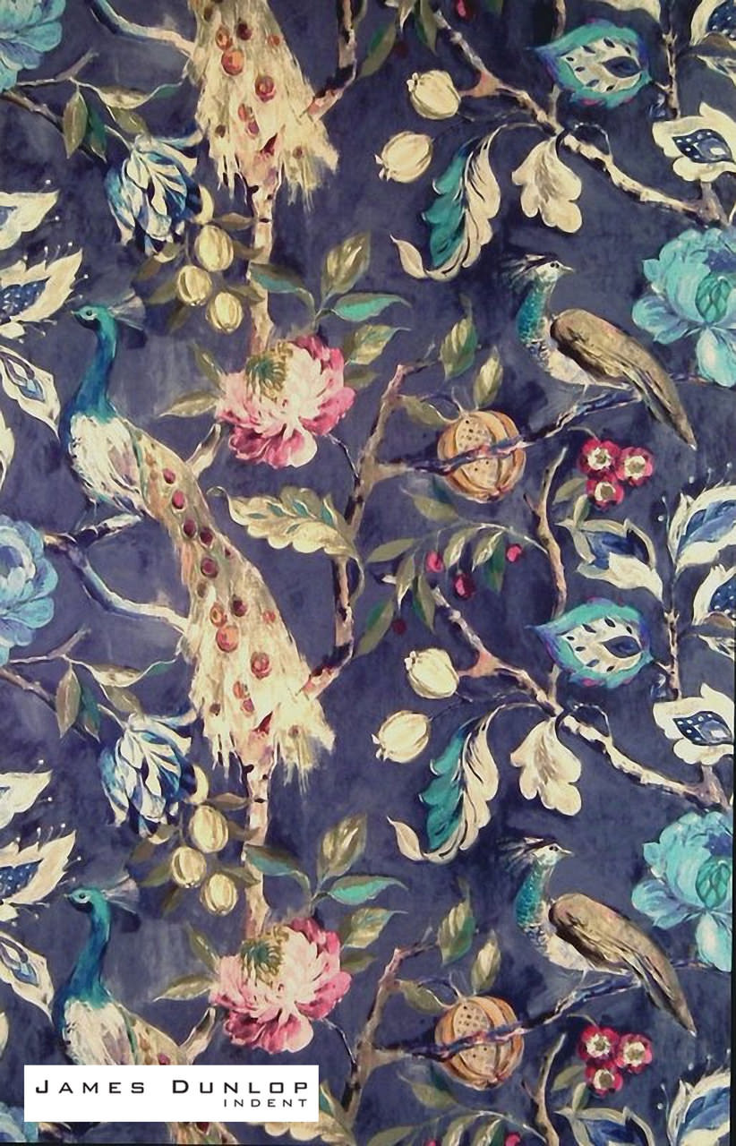 James Dunlop Indent - Hampton Court - Sapphire  | Curtain & Upholstery fabric - Blue, Deco, Decorative, Floral, Garden, Natural Fibre, Traditional, Velvet/Faux Velvet, Animals