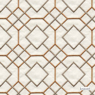 Kravet - Stinard - Terracotta  | Curtain & Upholstery fabric - Brown, Geometric, Midcentury, Natural Fibre, Diamond - Harlequin, Embroidery, Lattice, Trellis, Natural