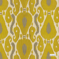 Kravet - Ornamental Ikat - Quince  | Curtain Fabric - Gold,  Yellow, Ikat, Kilim, Mediterranean, Natural Fibre, Silk, Natural, Standard Width