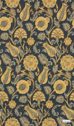Kravet - Outer Banks - Indigo    Upholstery Fabric - Gold,  Yellow, Floral, Garden, Jacobean, Synthetic, Traditional, Standard Width