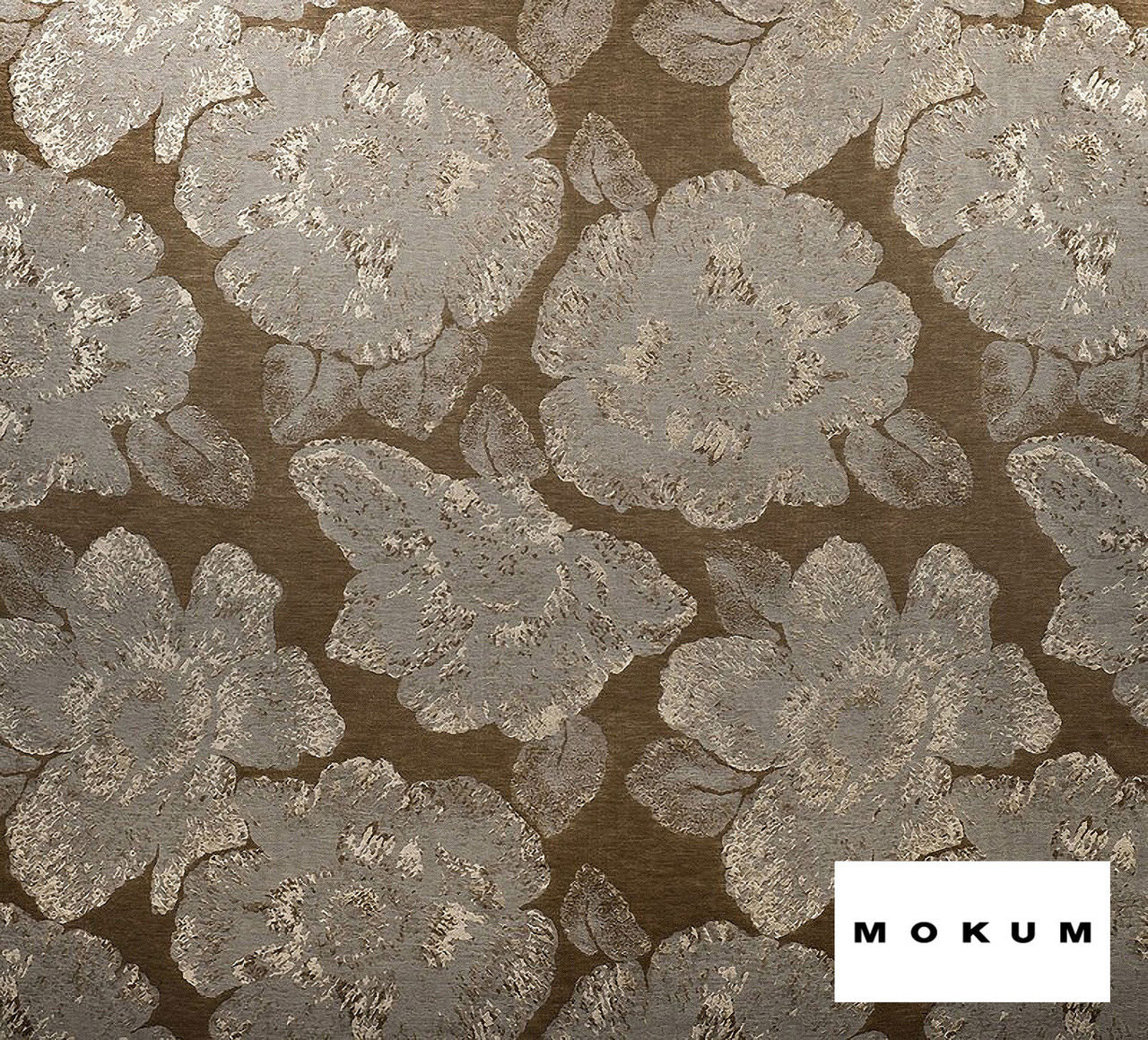 Mokum Caledonia - Antique Gold    Curtain & Upholstery fabric - Brown, Craftsman, Deco, Decorative, Floral, Garden, Natural Fibre, Organic, Domestic Use, Dry Clean, Natural