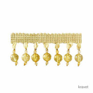 Kravet - Clear Bead - 4  | Fringe, Curtain & Upholstery Trim - Gold,  Yellow, Synthetic