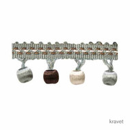 Kravet - Wrappedbead - 635  | Fringe, Curtain & Upholstery Trim - Blue, Brown, Silver, Synthetic