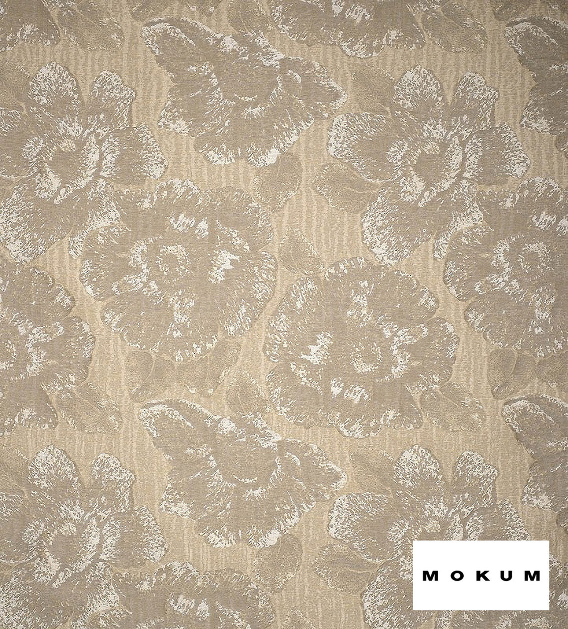 Mokum Caledonia - Champagne  | Curtain & Upholstery fabric - Gold,  Yellow, White, Craftsman, Deco, Decorative, Eclectic, Floral, Garden, Natural Fibre, Organic, Tropical