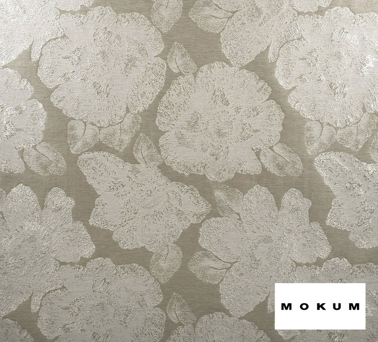 Mokum Caledonia - Silver  | Curtain & Upholstery fabric - Silver, Deco, Decorative, Eclectic, Floral, Garden, Natural Fibre, Organic, Transitional, Tropical, Domestic Use