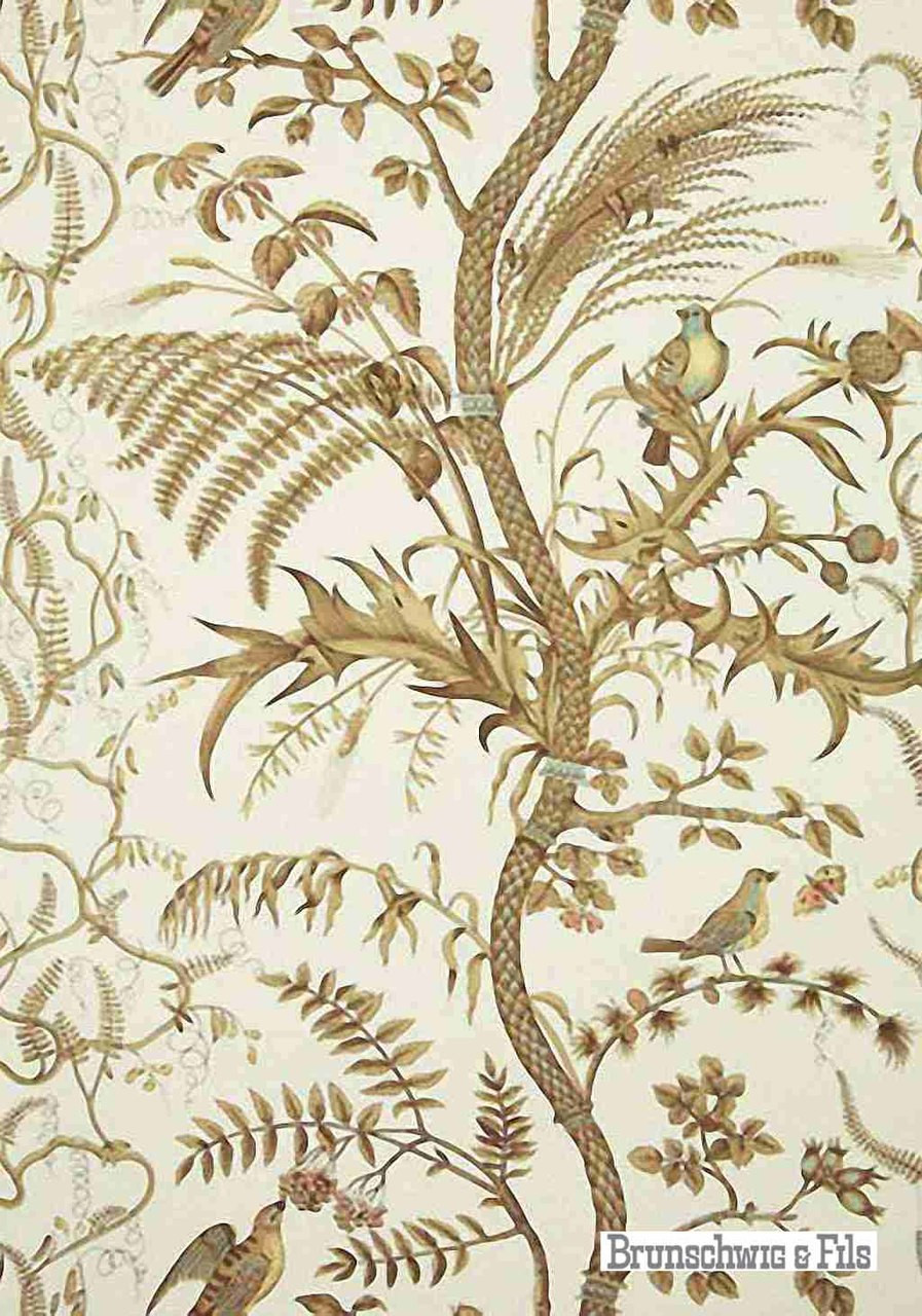 Brunschwig And Fils Bird And Thistle Beige Wallpapers