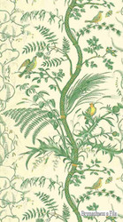 Brunschwig And Fils - Bird And Thistle - Green  | Wallpaper, Wallcovering - Toile, Print