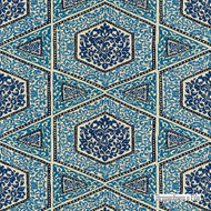 Brunschwig And Fils - Sudhira - Blue  | Upholstery Fabric - Blue, Fibre Blends, Geometric, Mediterranean, Embroidery