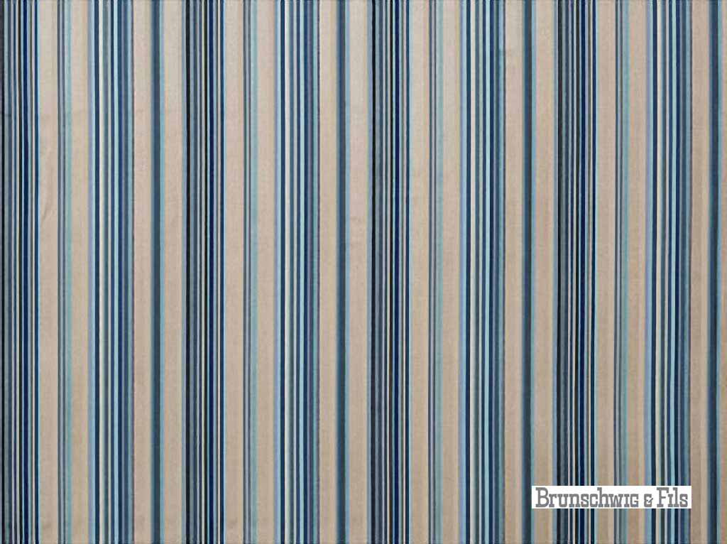 Brunschwig And Fils - Railway Velvet - Indigo-Aqua  | Upholstery Fabric - Blue, Multi-Coloured, Stripe, Synthetic, Traditional, Velvet/Faux Velvet, Standard Width