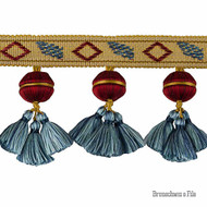 Brunschwig And Fils - Soie Bead - Classique    Fringe, Curtain & Upholstery Trim - Blue, Gold,  Yellow, Red, Natural Fibre, Natural