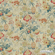 Brunschwig And Fils - Edenwood Hb - Red-Blue    Curtain & Upholstery fabric - Blue, Red, Farmhouse, Floral, Garden, Natural Fibre, Natural, Print, Standard Width