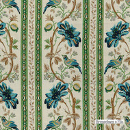 Brunschwig And Fils - Le Lac Border - Aqua-Green    Curtain & Upholstery fabric - Asian, Farmhouse, Floral, Garden, Natural Fibre, Stripe, Traditional, Animals, Natural, Print