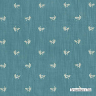 Brunschwig And Fils - Bayberry Strie - Oxford Blue  | Upholstery Fabric - Blue, Floral, Garden, Foulard, Natural Fibre, Traditional, Embroidery, Natural, Standard Width