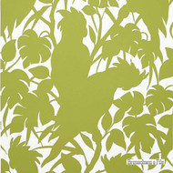 Brunschwig And Fils - Boca Chica(Positive) On Paper - Chartreuse On White  | Wallpaper, Wallcovering - Contemporary, Eclectic, Floral, Garden, Midcentury, Print