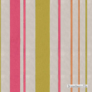 Brunschwig And Fils - Geneva Stripe - Chartreuse-Pink  | Curtain Sheer Fabric - Pink, Purple, Stripe, Synthetic, Traditional, Wide Width, Strie
