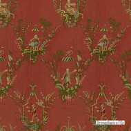 Brunschwig And Fils - Old Cathay Lampas - Cinnabar  | Upholstery Fabric - Brown, Asian, Fibre Blends, Standard Width