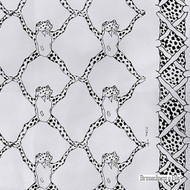 Brunschwig And Fils - Frog Treillage On Vinyl - Black & White  | Wallpaper, Wallcovering - Grey, White, Midcentury, Synthetic, Animals, Animals - Fauna, Figurative, Print