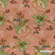 Brunschwig And Fils - Fabriano Cotton And Linen Print - Coral  | Curtain & Upholstery fabric - Farmhouse, Fibre Blends, Floral, Garden, Print, Standard Width