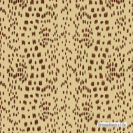 Brunschwig And Fils - Les Touches Cotton Print - Brown  | Curtain & Upholstery fabric - Brown, Geometric, Natural Fibre, Stripe, Dots, Spots, Natural, Print, Standard Width