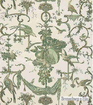 Brunschwig And Fils - Kininvie - Leaf On White  | Wallpaper, Wallcovering - Floral, Garden, Print, Birds, Rococo