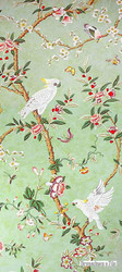 Brunschwig And Fils - Kanchou - Verdigris  | Wallpaper, Wallcovering - Asian, Farmhouse, Floral, Garden, Traditional, Animals, Animals - Fauna, Print, Birds