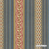 Brunschwig And Fils - Rayure Fleurette - Wedgwood  | Upholstery Fabric - Blue, Eclectic, Floral, Garden, Natural Fibre, Stripe, Traditional, Jacquards, Natural, Strie