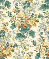 Lee Jofa - Hollyhock Hdb - Yellow  | Curtain & Upholstery fabric - Natural Fibre, Natural, Print, Standard Width
