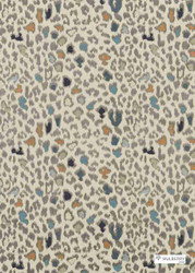 Mulberry Home - Animal Magic - Teal  | Curtain & Upholstery fabric - Blue, Grey, Fibre Blends, Midcentury, Organic, Embroidery, Standard Width