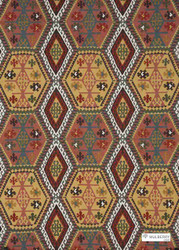 Mulberry Home - Buckland - Spice  | Curtain & Upholstery fabric - Red, Kilim, Multi-Coloured, Natural Fibre, Southwestern, Diamond - Harlequin, Natural, Print, Standard Width