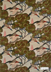 Mulberry Home - Flying Ducks Velvet - Sky  | Curtain & Upholstery fabric - Brown, Floral, Garden, Natural Fibre, Velvet/Faux Velvet, Animals, Animals - Fauna, Natural, Print