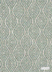 Mulberry Home - Haslam - Aqua  | Curtain & Upholstery fabric - Fibre Blends, Ogee, Weave, Standard Width