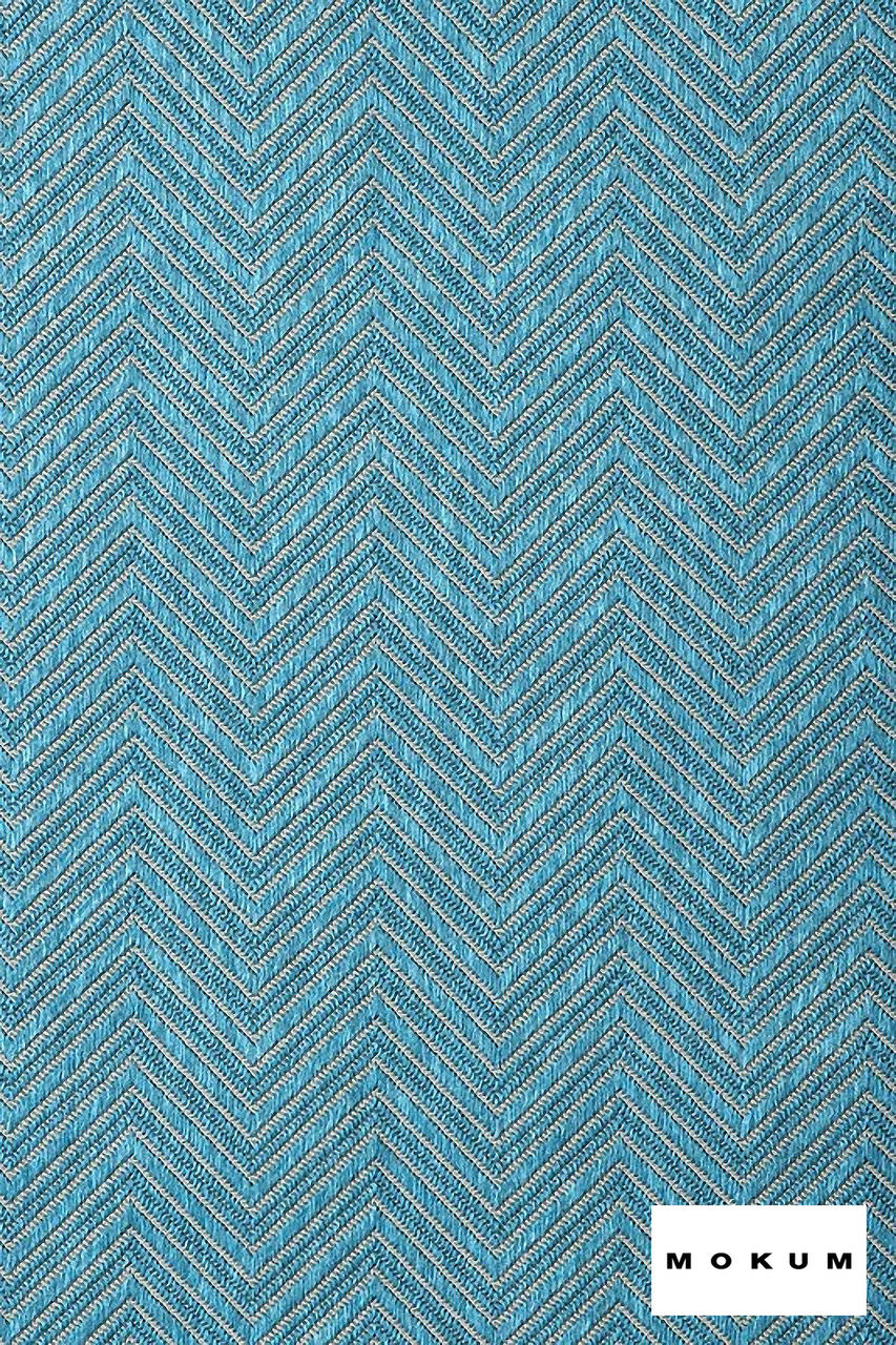 Mokum Madura - Aqua  | Upholstery Fabric - Fire Retardant, Eclectic, Outdoor Use, Pattern, Synthetic, Tropical, Turquoise, Teal, Washable, Chevron, Zig Zag, Commercial Use