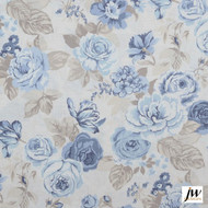 JW Design - Blossom Chambray Uncoated 137cm  | Curtain & Upholstery fabric - Blue, Farmhouse, Floral, Garden, Natural Fibre, Pattern, Traditional, Uncoated, Washable, Print