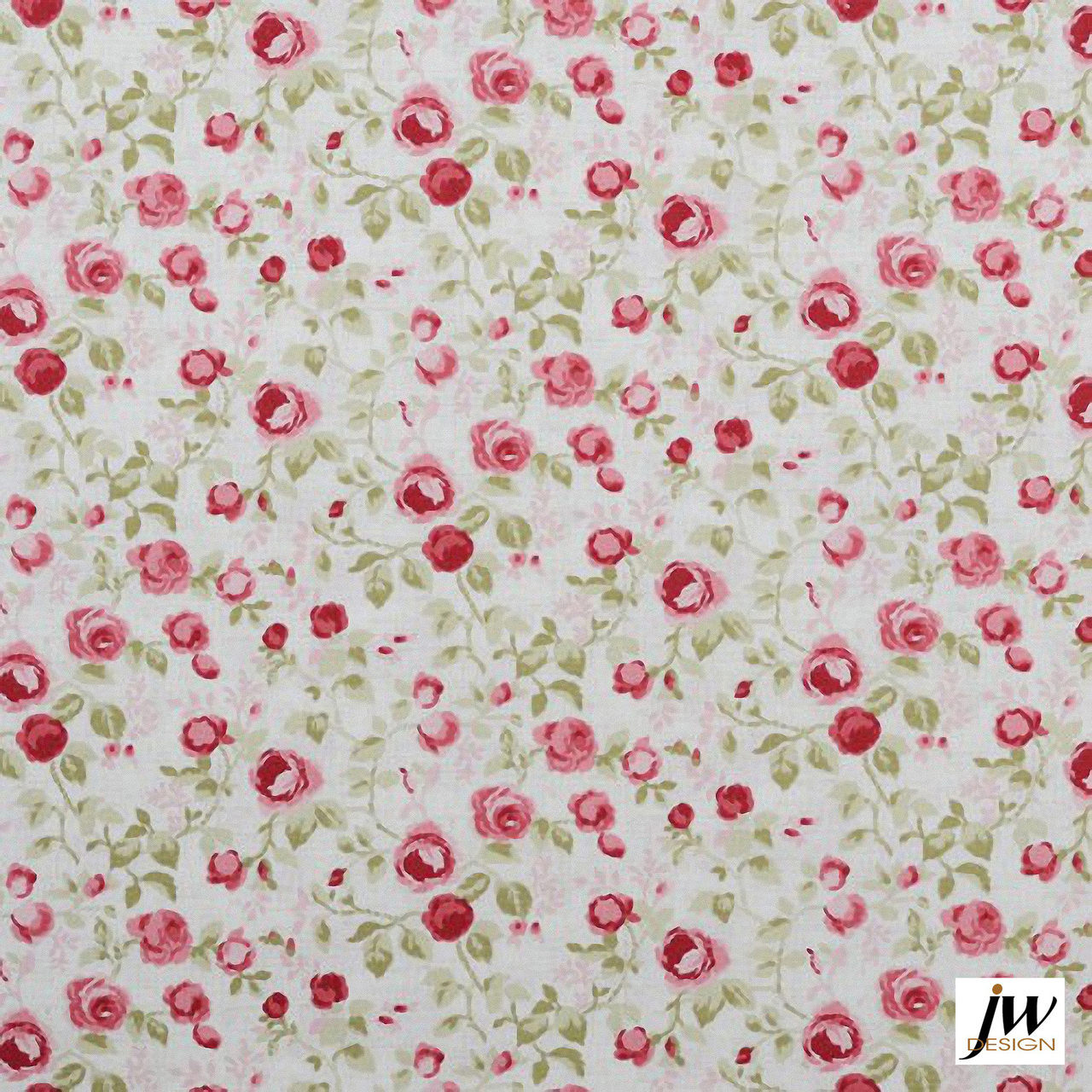 JW Design - Everlasting Old-Rose Uncoated 137cm  | Curtain & Upholstery fabric - Red, Farmhouse, Floral, Garden, Natural Fibre, Pattern, Pink, Purple, Traditional, Uncoated