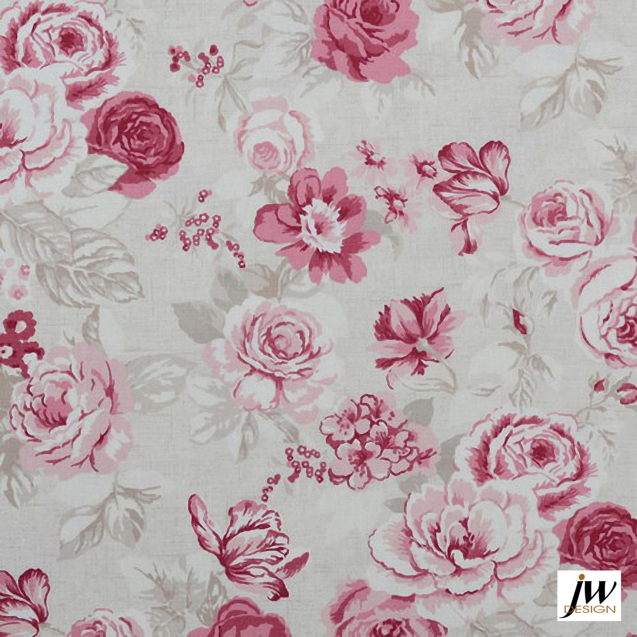 JW Design - Blossom Raspberry Uncoated 137cm  | Curtain & Upholstery fabric - Farmhouse, Floral, Garden, Natural Fibre, Pattern, Pink, Purple, Traditional, Uncoated, Print