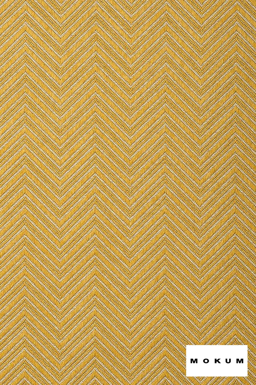 Mokum Madura - Gold    Upholstery Fabric - Fire Retardant, Gold,  Yellow, Eclectic, Outdoor Use, Pattern, Synthetic, Tropical, Washable, Chevron, Zig Zag, Commercial Use