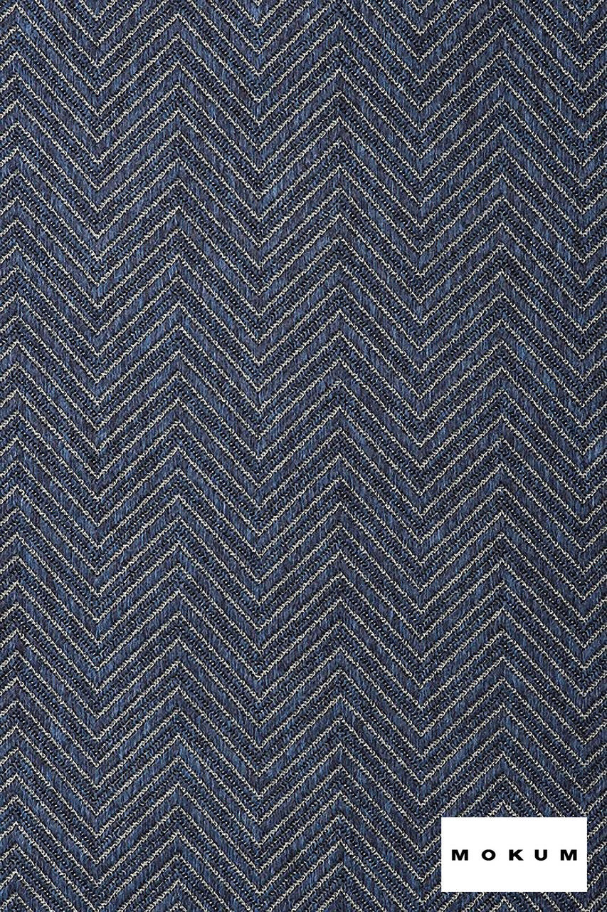 Mokum Madura - Pacific  | Upholstery Fabric - Blue, Fire Retardant, Eclectic, Outdoor Use, Pattern, Synthetic, Tropical, Washable, Chevron, Zig Zag, Commercial Use